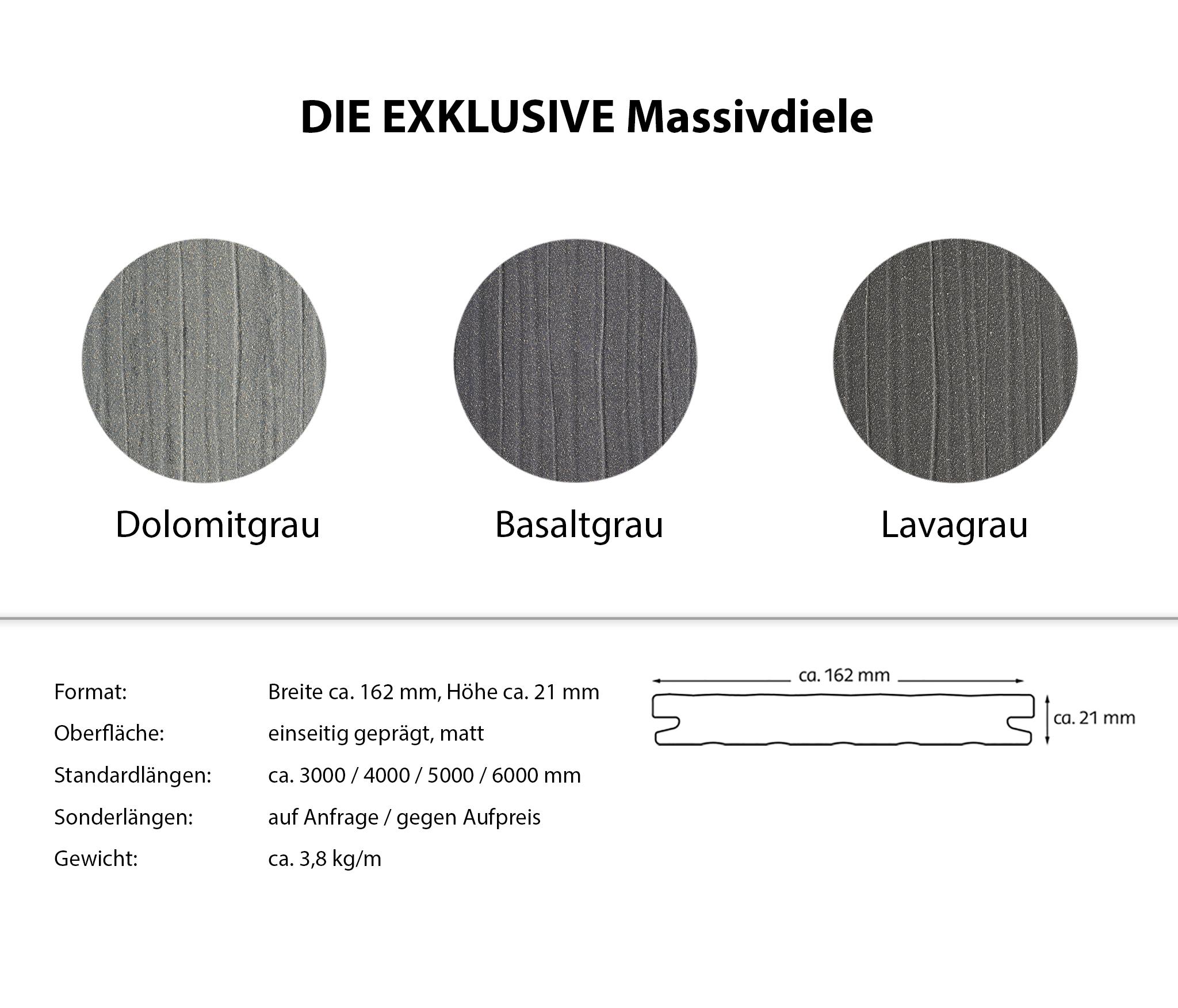 DIE EXKLUSIVE WPC Massivdiele Basaltgrau