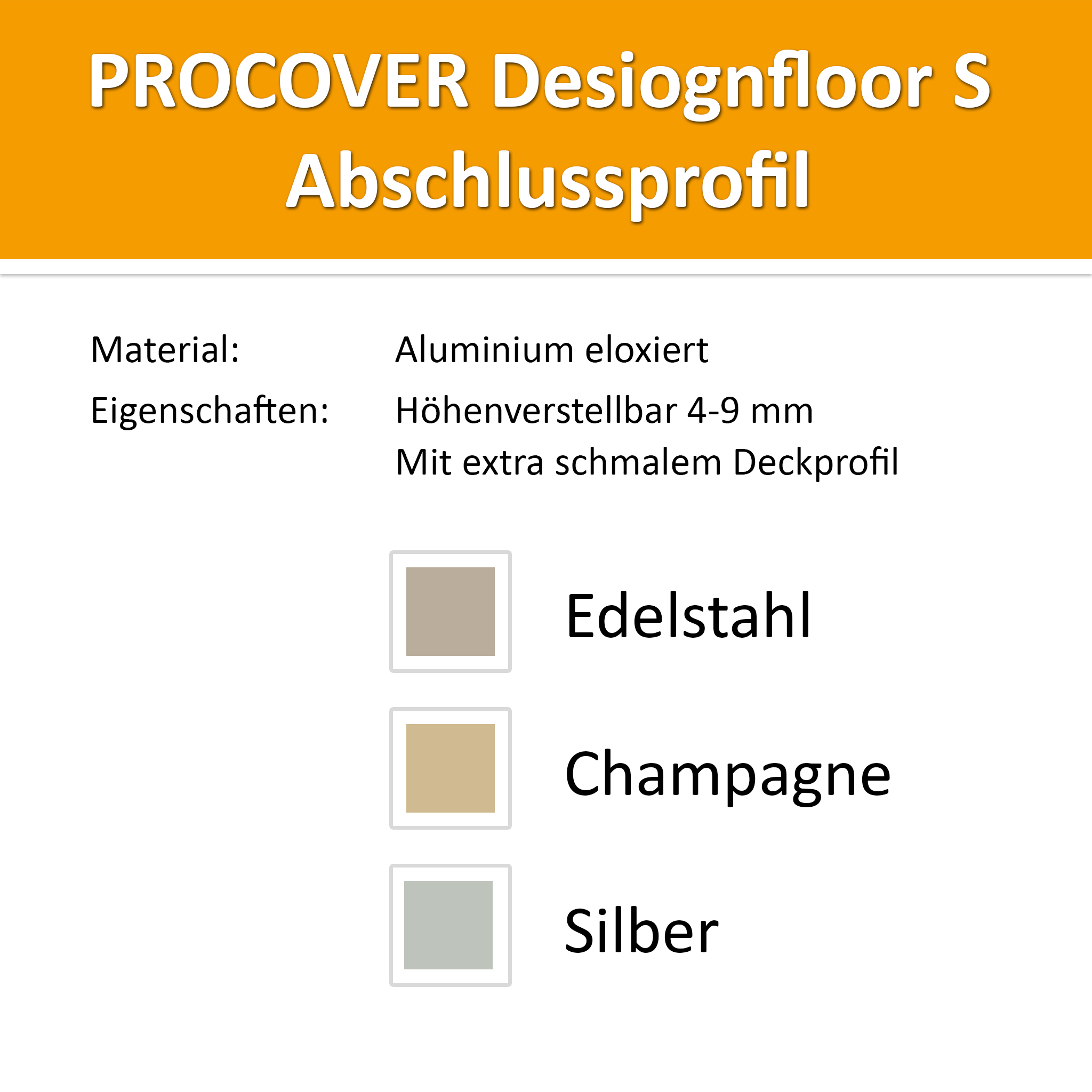 Abschlussprofil Alu Champagne 4-9mm
