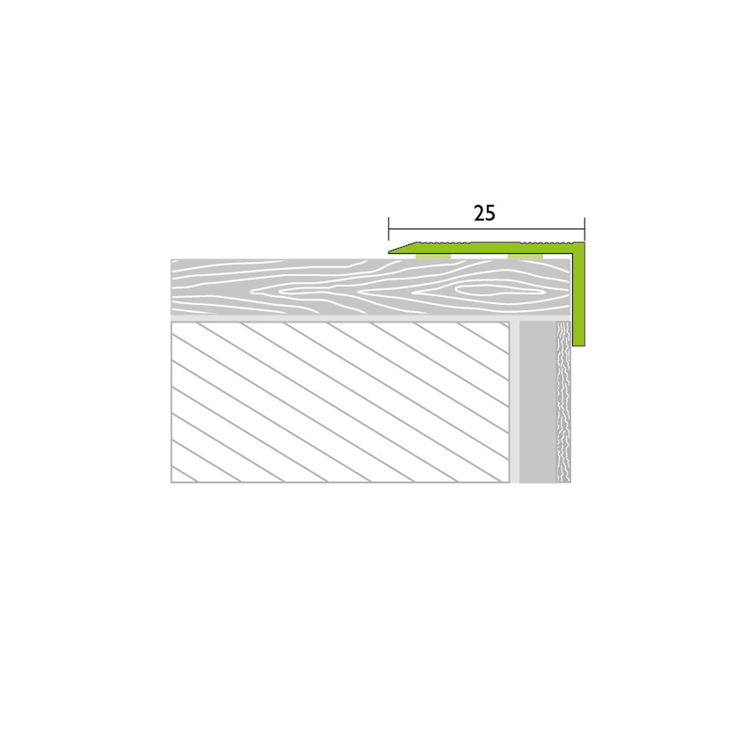 Angle profile 1,00m alu stainless steel