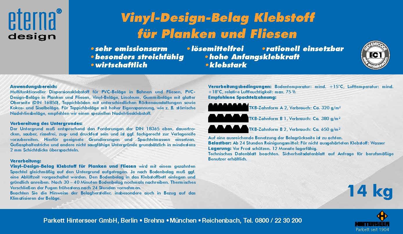 Vinyl Design-Belags Klebstoff 14Kg