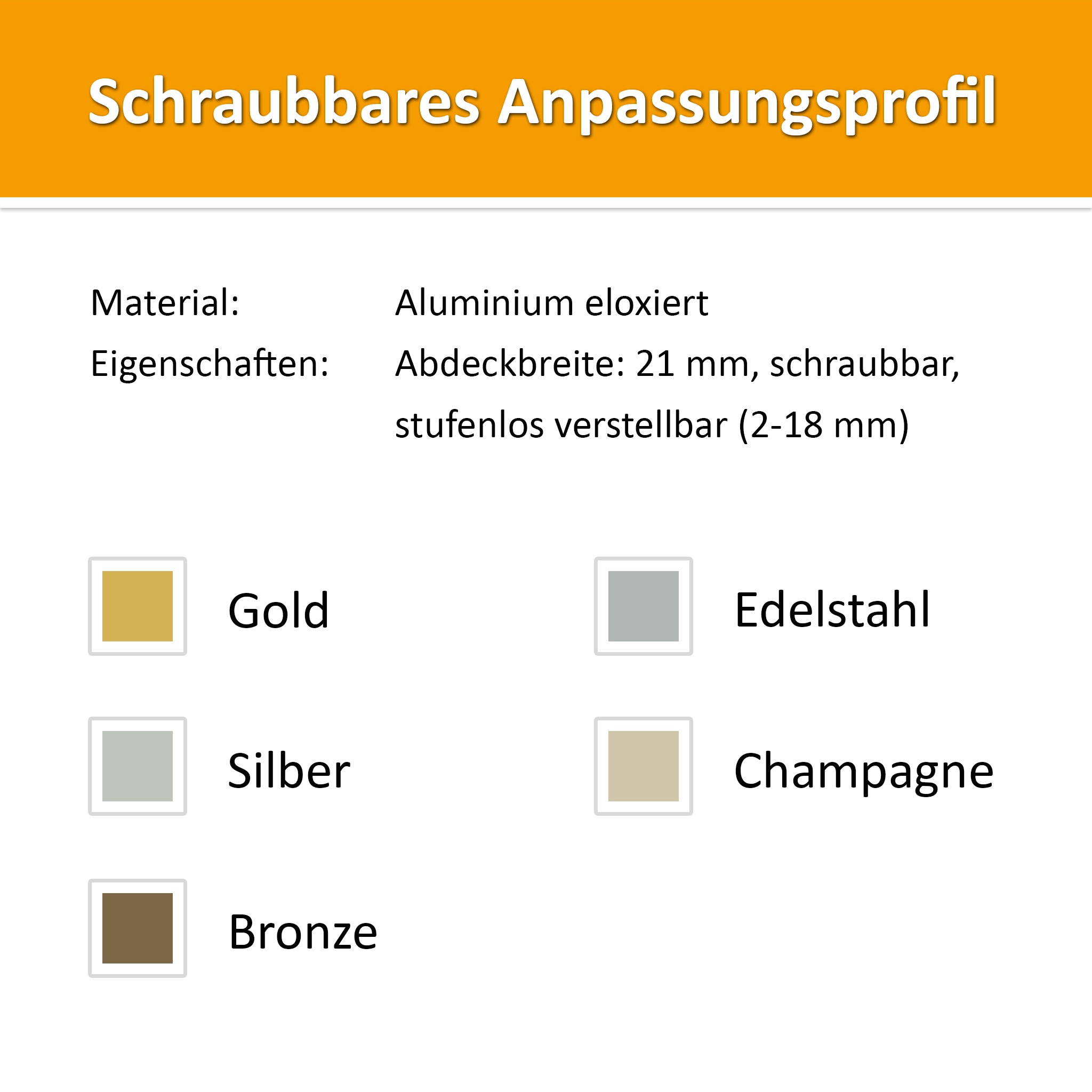 Adaptation profile alu silver 1,00 m
