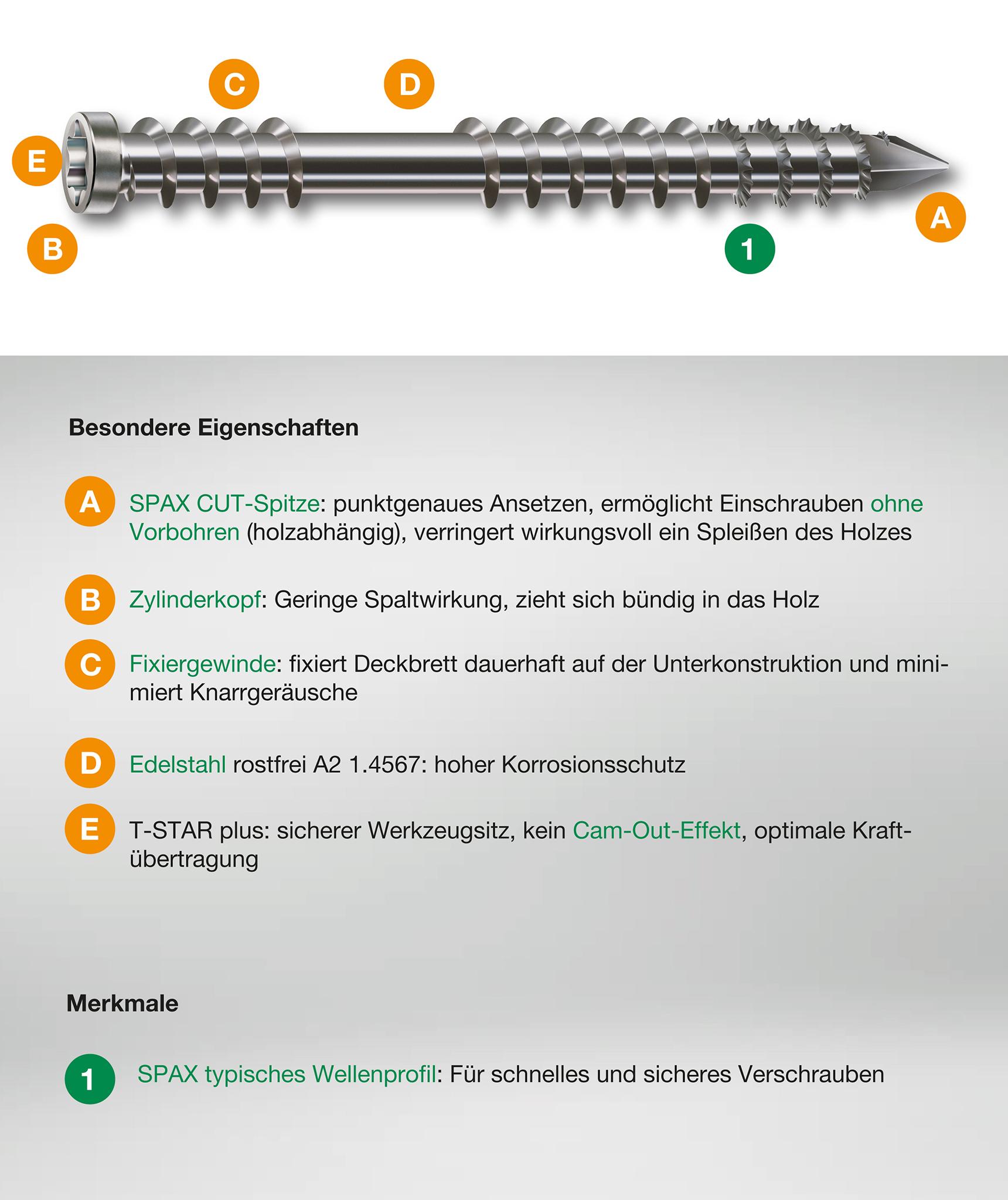 SPAX Terrassenschraube A2 5x60mm