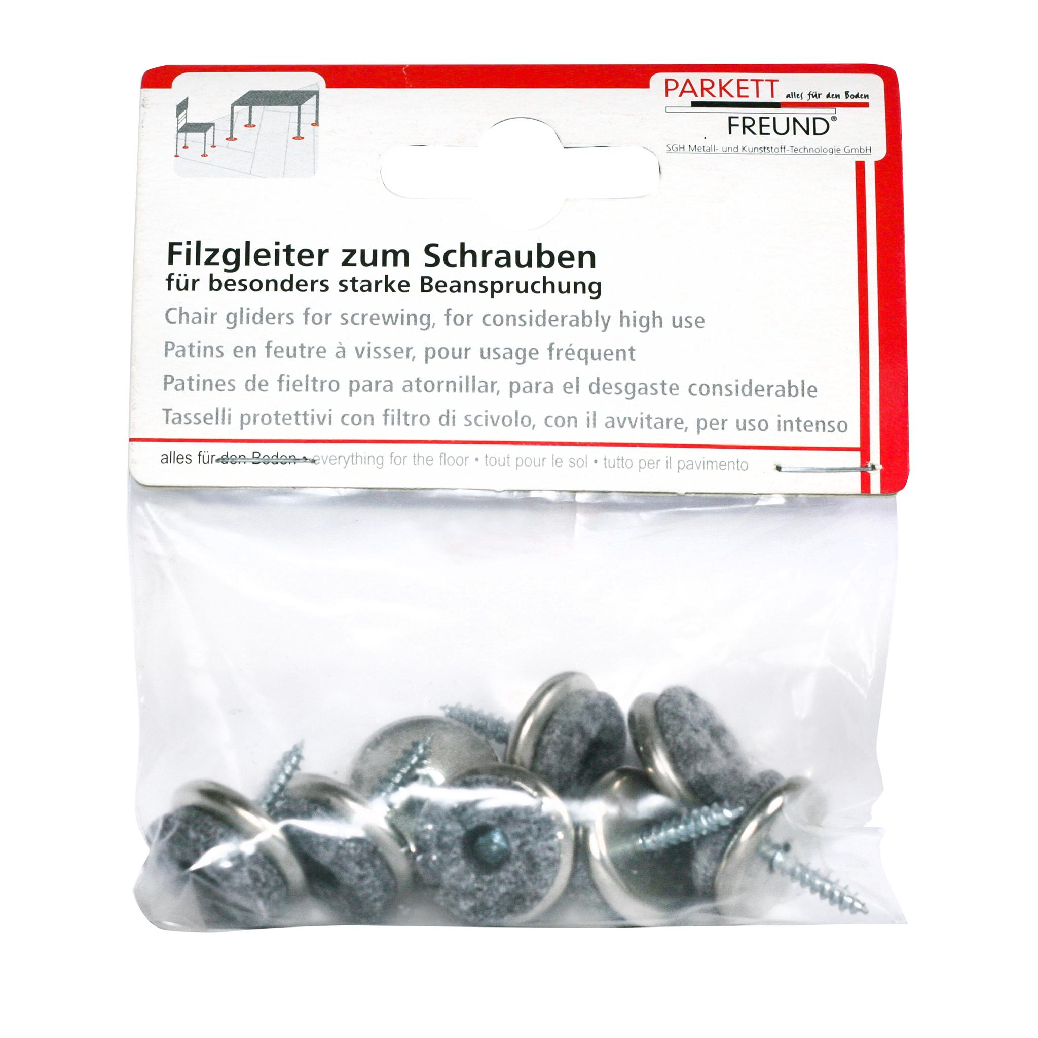 Filzgleiter 20mm, vernickelt, schraubbar