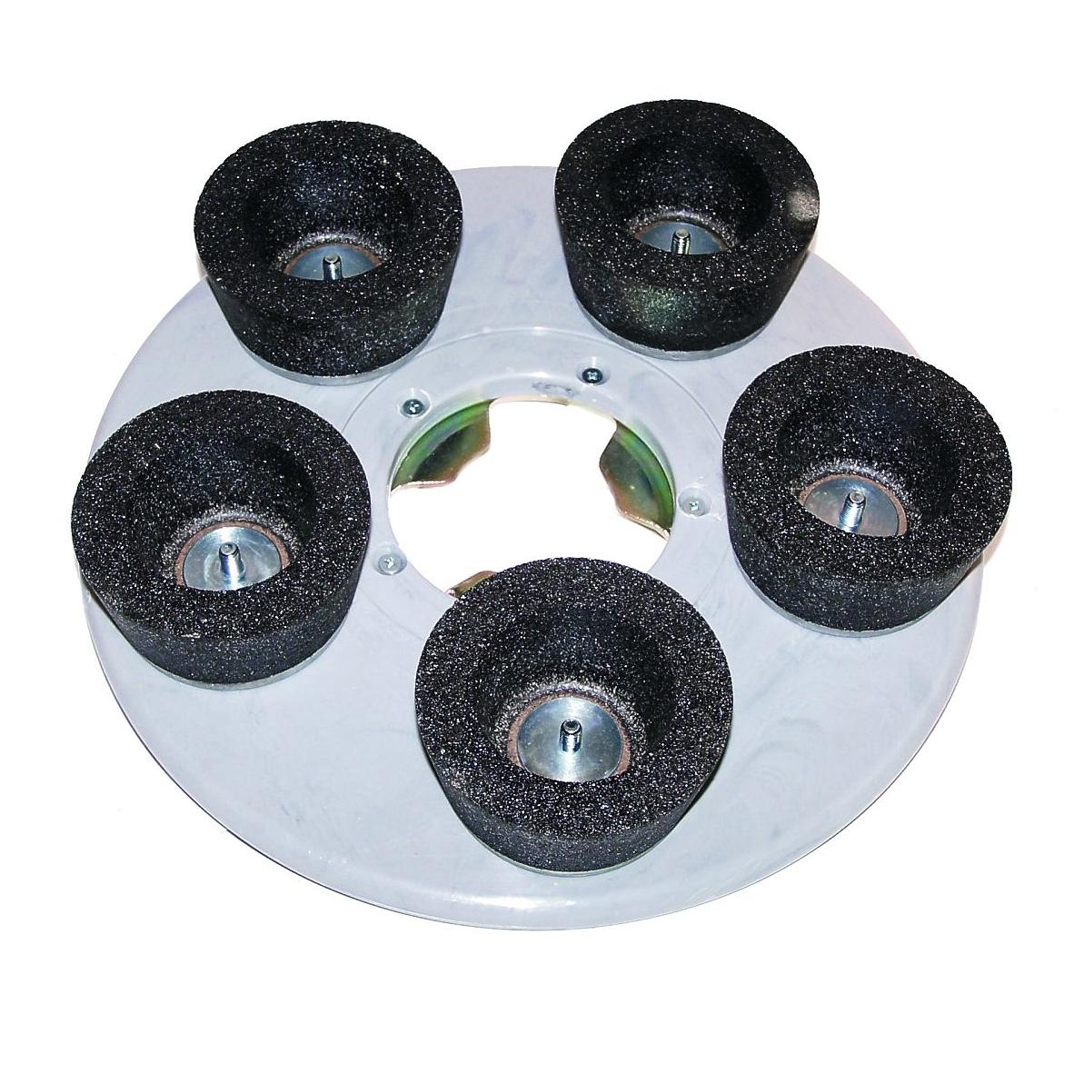 Schleifteller mit runden Schleifsteinen