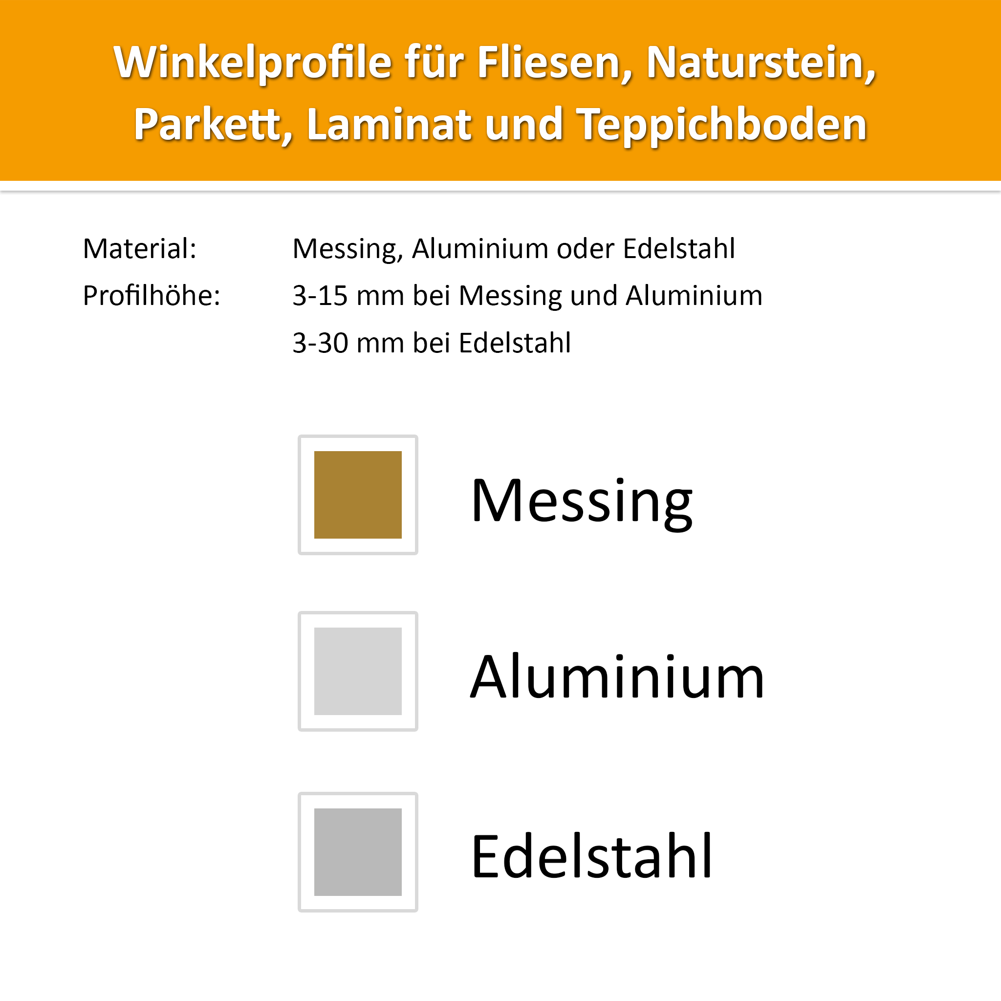 Winkel-Abschlussprofil Aluminium 3mm