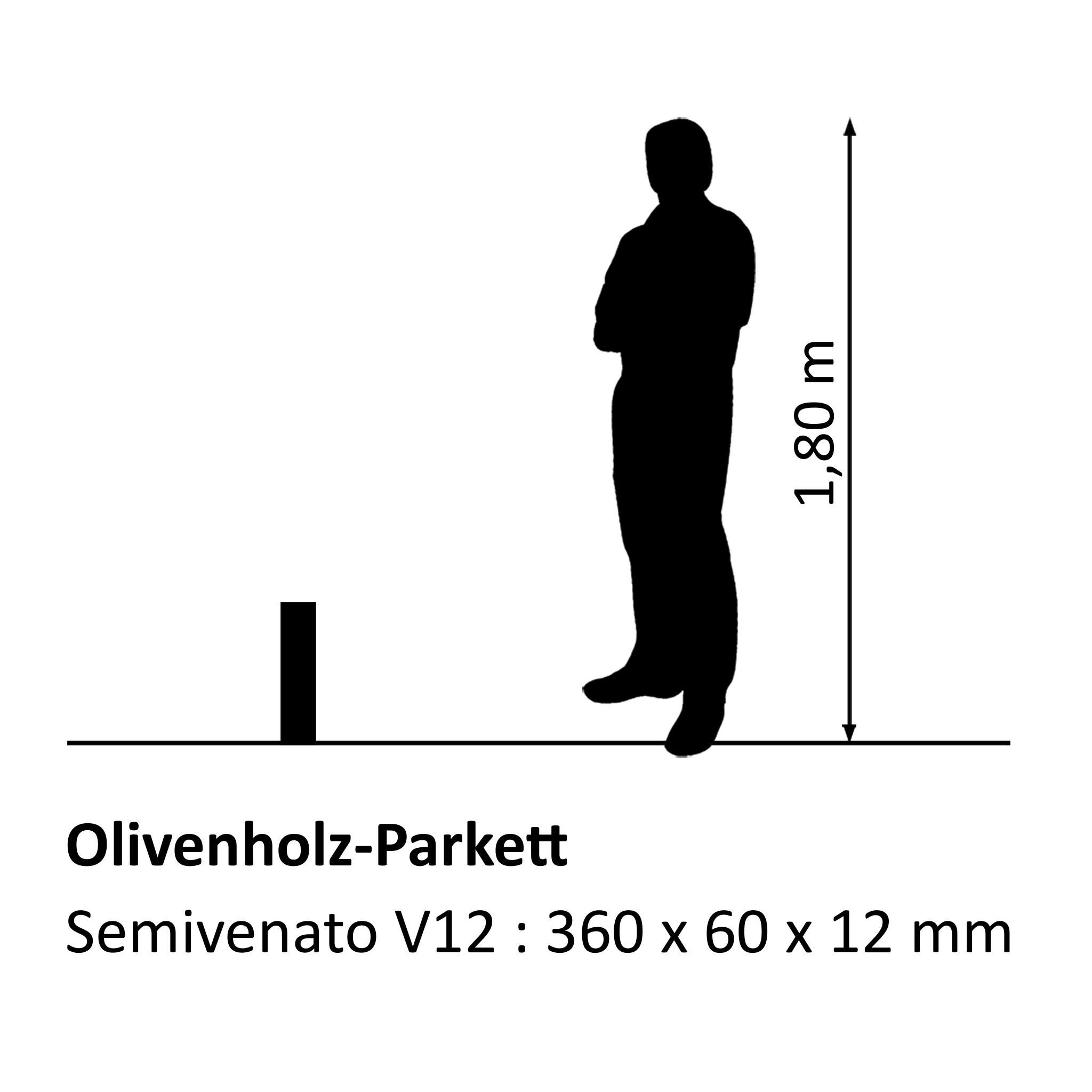 Olive wood parquet Semivenato V12