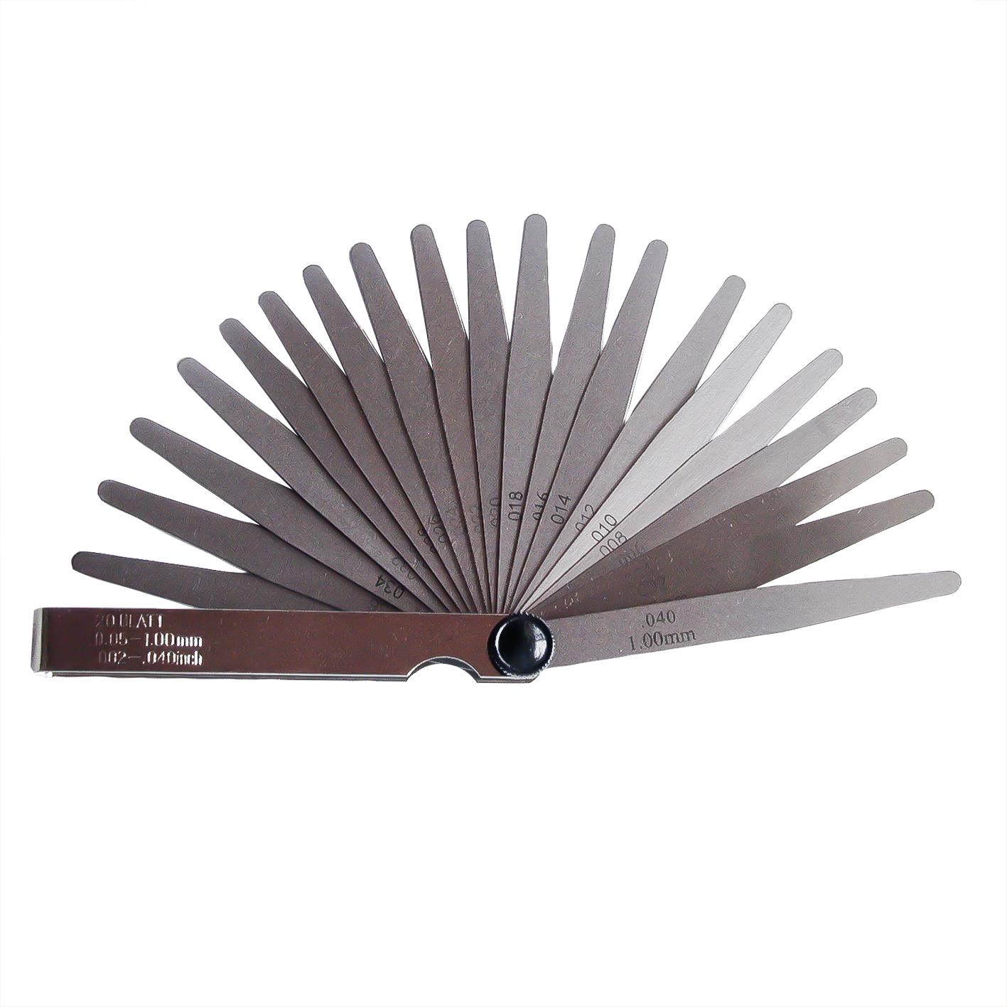 Feeler gauge with 20 blades